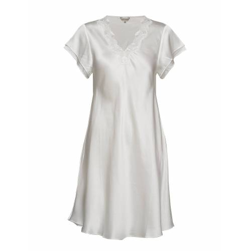 LADY AVENUE Pure Silk - Nightgown W.Lace, Short Nachthemd Creme LADY AVENUE Creme M,L,XL,S,XXL,XS