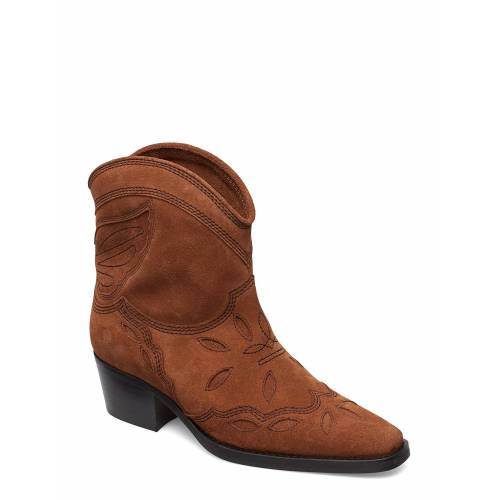 Ganni Low Texas Shoes Boots Ankle Boots Ankle Boot - Heel Braun GANNI Braun 38,36