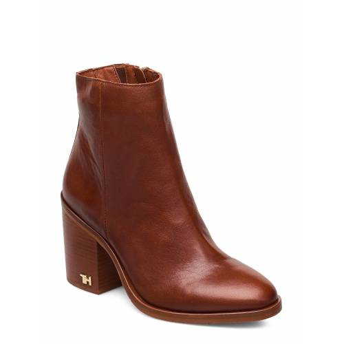 Tommy Hilfiger Mono Color Heeled Boot Shoes Boots Ankle Boots Ankle Boot - Heel Braun TOMMY HILFIGER Braun