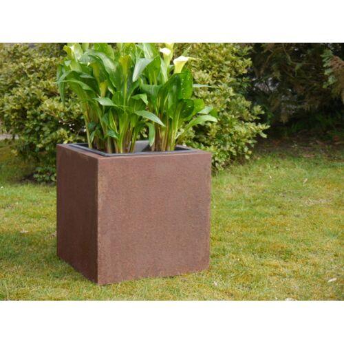 Pflanzkübel aus Cortenstahl, rostfarben - Größe (LxBxH): 50x50x50