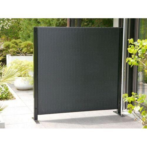 B-Ware: VISTO - Paravent, Sichtschutz L160 x T39 x H160cm, Polyrattan, schwarz