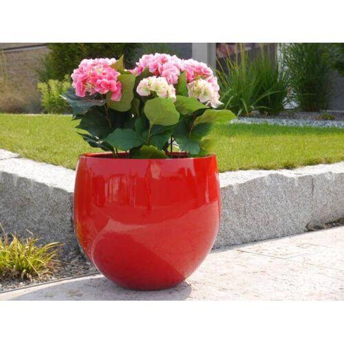 B-Ware Pflanzkübel YOKO aus Fiberglas in Hochglanz rot