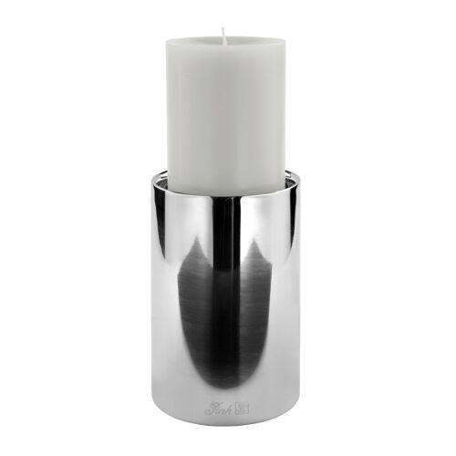 Fink Sobrio Kerzenhalter aus Edelstahl - silberfarben - H: 15 cm