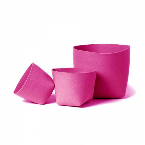 SiGN HEY-SIGN SILO ÜBERTOPF aus Naturfilz - rosa - Höhe 18,5 cm - Ø 18 cm