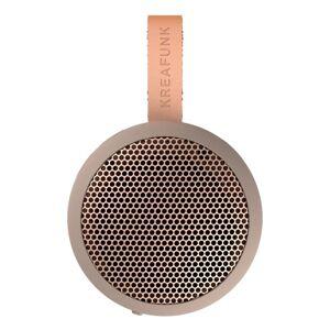 KREAFUNK aGO Bluetooth-Lautsprecher - ivory sand, rosegold - ø8 cm - Höhe 3,9 cm