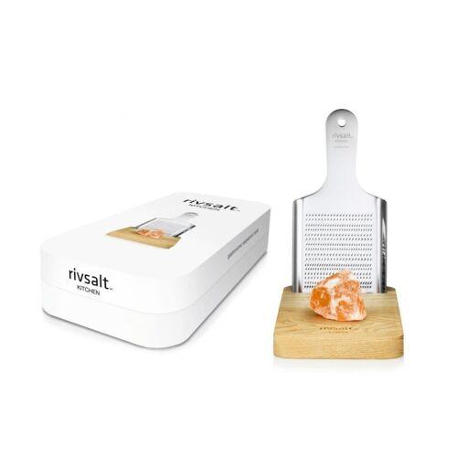 Rivsalt Kitchen Salz- & Parmesanreibe groß - mit Kristallsalz - 1 Reibe - 1 Ständer & 1 Salzstein