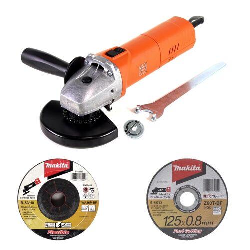 Fein WSG 11-125 Winkelschleifer 1100W 125mm + Schnellspannmutter + Makita Schruppscheiben + Trennscheiben