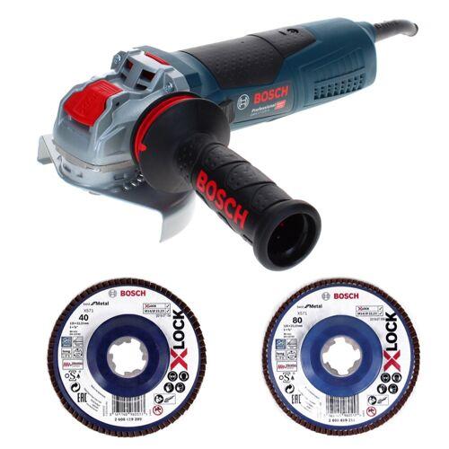 Bosch GWX 17-125 S Professional Winkelschleifer 1700 W 125 mm X-Lock + Fächerschleifscheibe X571 K40 + Fächerschleifscheibe X571 K80