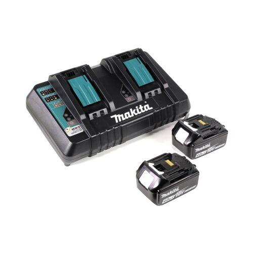 Makita DHR 281 PMJ Brushless Akku Bohrhammer 28 mm 2x 18 V für SDS-PLUS mit Schnellwechselfutter im Makpac + 2x 4,0 Ah Akku + Doppelladegerät