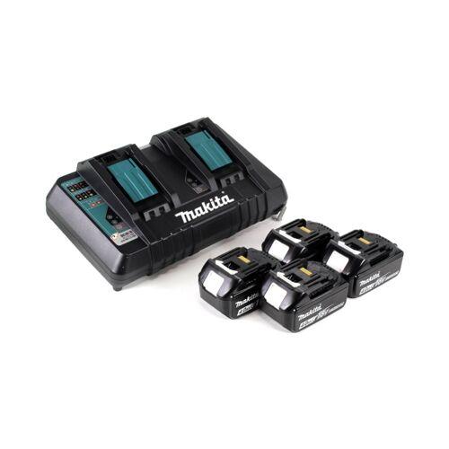 Makita DHR 281 PM4J Brushless Akku Bohrhammer 28 mm 2x 18 V für SDS-PLUS mit Schnellwechselfutter im Makpac + 4x 4,0 Ah Akku + Doppelladegerät