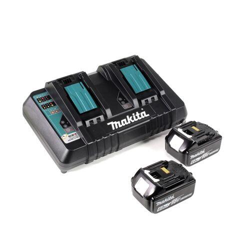 Makita DHR 281 PGJ Brushless Akku Bohrhammer 28 mm 2x 18 V für SDS-PLUS mit Schnellwechselfutter im Makpac + 2x 6,0 Ah Akku + Doppelladegerät