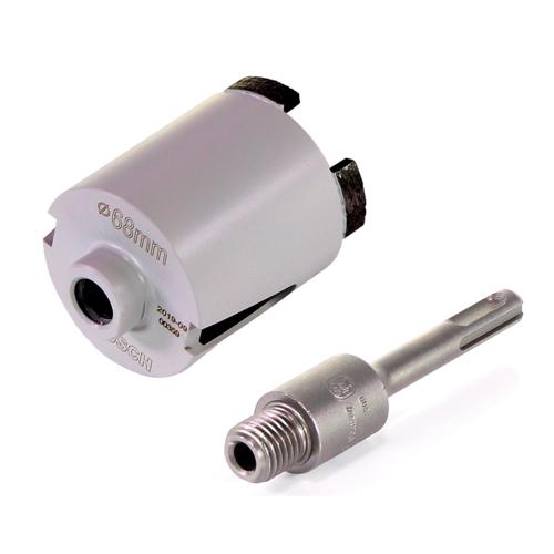 Bosch Best for Universal Steckdosen Bohrkrone 68mm M16 + Aufnahmeschaft SDS-plus für Hohlbohrkronen M16