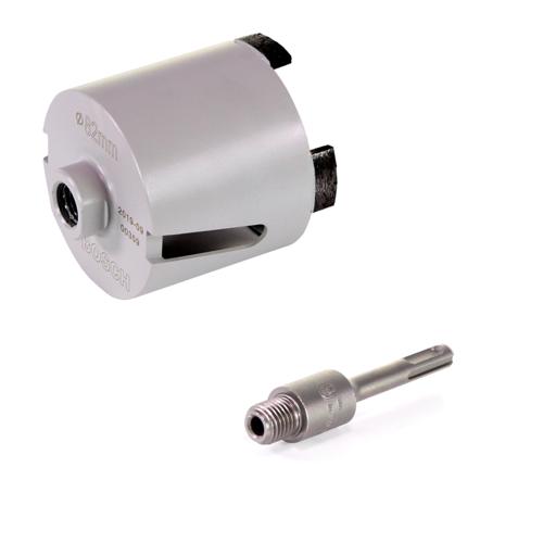 Bosch Best for Universal Steckdosen Bohrkrone 82mm M16 + SDS-plus Aufnahmeschaft für Hohlbohrkronen M16