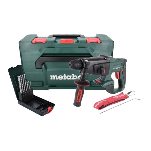 Metabo KHA 18 LTX Akku Kombihammer 18 V 2,2 J SDS Plus + 7 tlg. P4P SDS plus Steinbohrer Set + metaBOX - ohne Akku, ohne Ladegerät