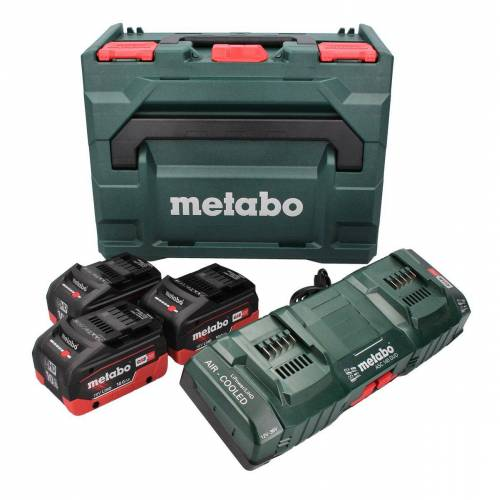 Metabo Basis Set 3x Akku 18 V 10,0 Ah LIHD + Doppelladegerät + metaBOX