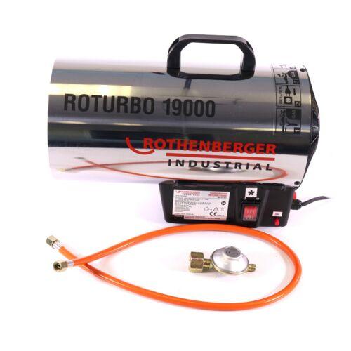 Rothenberger Industrial Set 2x RoTurbo 19000 Heizkanone + Piezo-Zündung + Schlauch + Regler ( 2x 1500000051 ) 980 °C Flamme