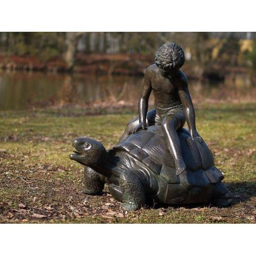 dsf Bronzefigur Junge auf Schildkröte