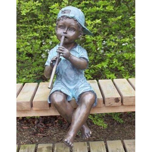 dsf Bronzefigur Junge mit Flöte als Wasserspeier