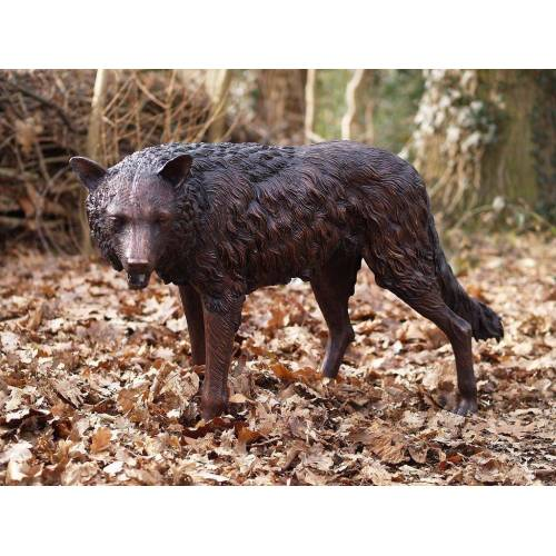 TB Bronzefigur Lauernder Wolf