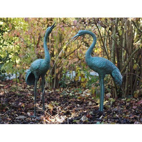 dsf Bronzefigur Kranich Paar Wasserspeier