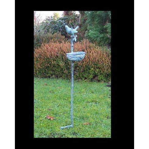 dsf Bronzefigur Vogelfutterschale auf Stock