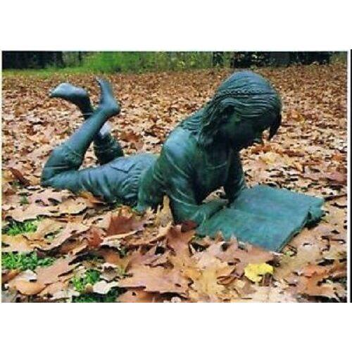 dsf Bronzefigur Figur liegendes Mädchen mit Buch