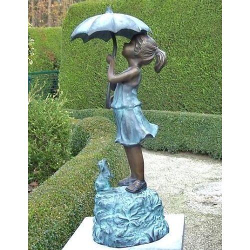 dsf Bronzefigur Mädchen unterm Regenschirm