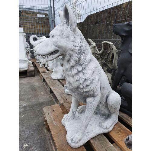 SB Gartenfigur Schäferhund, grau-antik