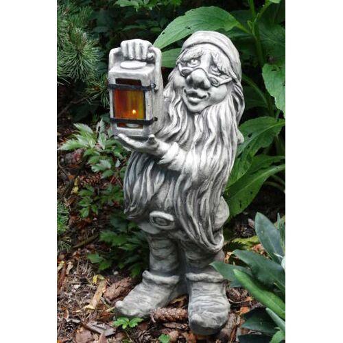 VF Gartenfigur Zwerg mit Lampe, Steinguss