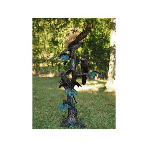 TB Bronzefigur Papageien auf Stamm