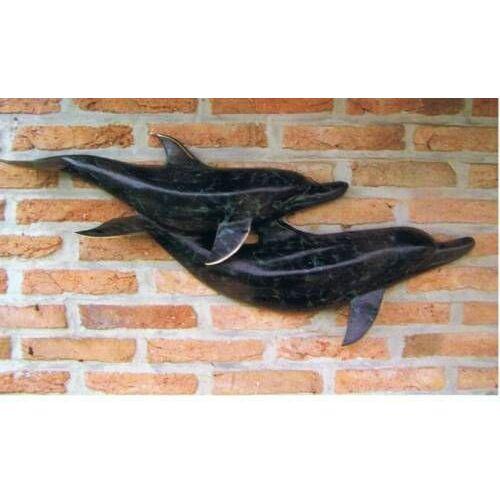 dsf Bronzefigur Delfin Figur aus Bronze HW 0095 BR-A