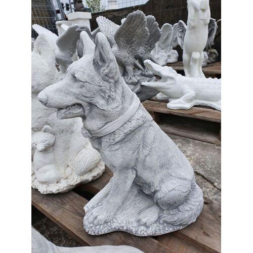 SB Gartenfigur Schäferhund klein, grau-antik
