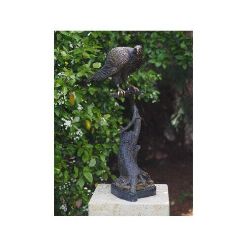 TB Bronzefigur Falke auf Stamm