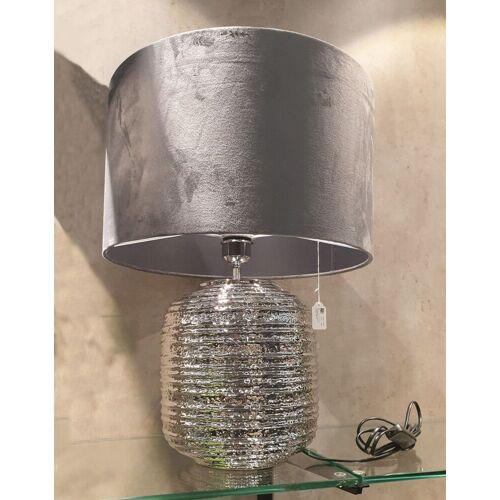 "Kaheku Lampe ""Medan"" Keramik mit Lampenschirm Samt Farbe Schiefer 54 cm Höhe 40 cm Ø"