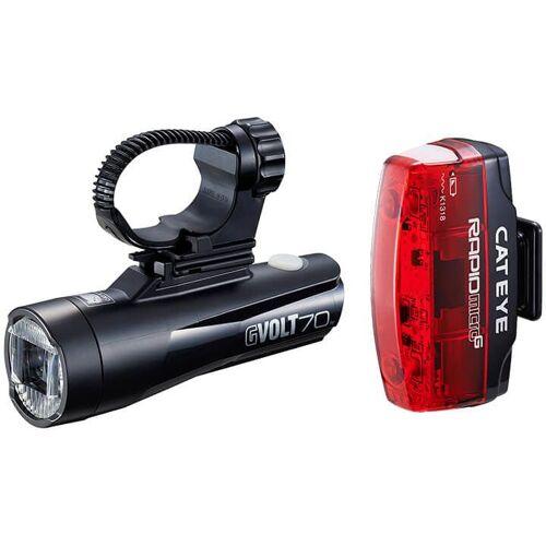 CATEYE Beleuchtungsset Gvolt70 HL-EL551GRC/TL-LD620G, Fahrradlicht, Fa