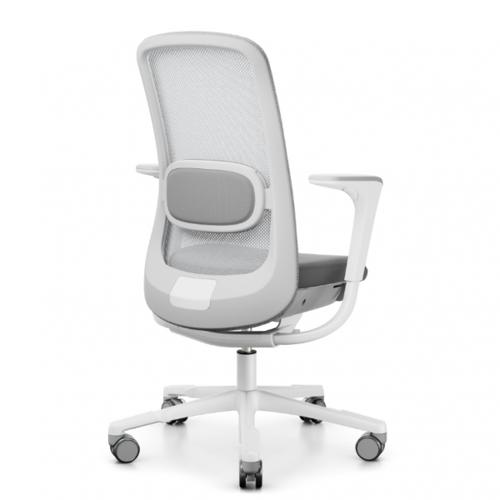 HAG SoFi Mesh 7500 Bürostuhl mit Netzrücken grau - Aluminium Fußkreuz weiß