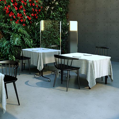 Xrozz Plexi Trennwand auf Rollen - Virenschutz Stellwand Restaurant