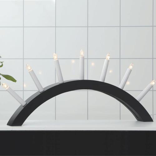 """Lichterbogen """"Aura"""" - 7 warmweiße Glühlampen - L: 58cm, H: 29cm - Holz - Schalter - Schwarz"""