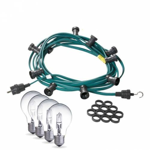 Illu-/Partylichterkette 10m   Außenlichterkette   Made in Germany   30 weiße Halogenlampen (28W)