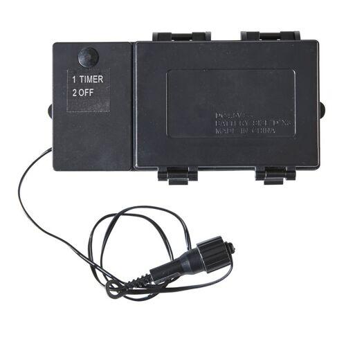 Batteriefach   Serie LED   Outdoor   Schwarzes Kabel   Timer 6/18h - für 3 x D-Zelle - bis 240 LED