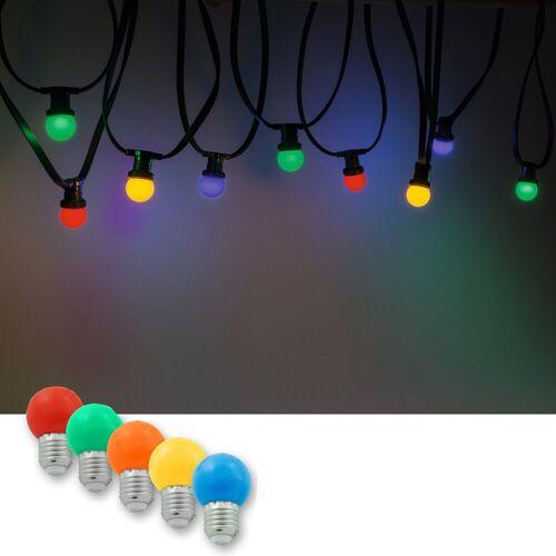 Illu-/Partylichterkette 10m   Außenlichterkette, 10 x bunte LED Lampe