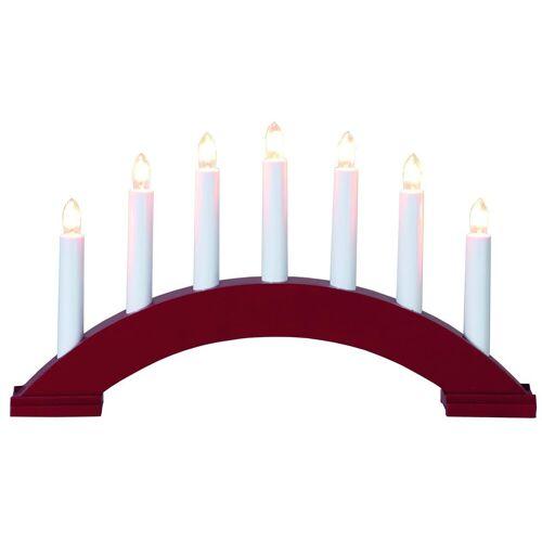 Lichterbogen Bea - 7flammig - warmweiße Birnchen - L: 39cm, H: 22cm - Schalter - rot