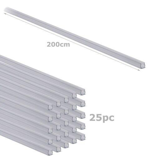Befestigungsschienen für Lichtschlauch (12-13mm) 25 Stück - 200cm - Kunststoff, transparent