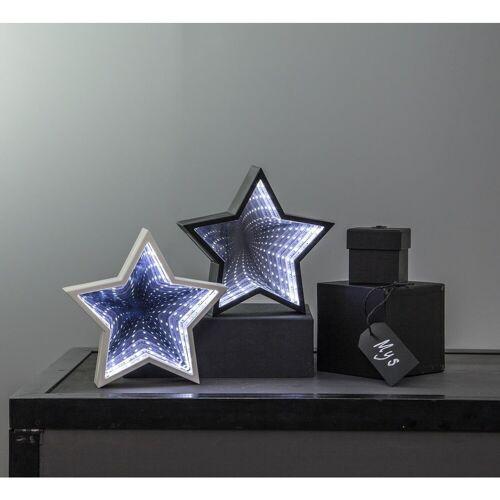 """LED-Leuchtstern """"Mirror"""" - 23 kaltweiße LED - Kunststoff - H: 19cm - Batteriebetrieb - weiß"""