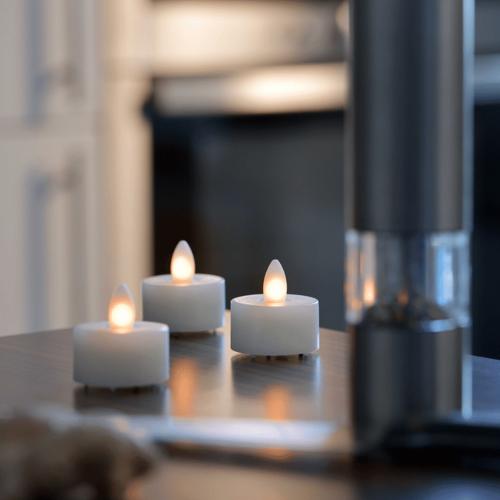SOMPEX LED Teelicht SHINE 4er Set   elfenbein   D: 4,5cm H: 4cm   fernbedienbar   Timer