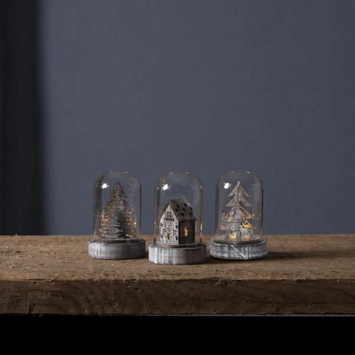 LED Deko in Glas - 3er Set - Baum, Haus, Rentiere - Holzdekoration braun - warmweiße LED - H: 8,5cm