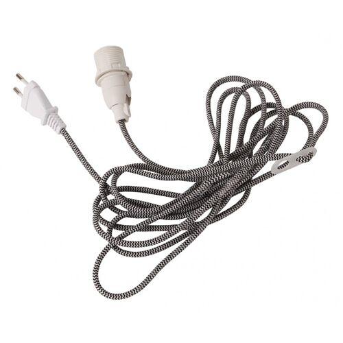 Lampenhalterung für Leuchtsterne - E14 Fassung - textilummanteltes Kabel - 3,50m - schwarz-weiß