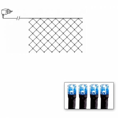 LED-Lichternetz   Serie LED   Outdoor   Schwarzes Kabel   90 blaue LED   1.00m x 2.00m