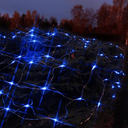 LED-Lichternetz   Serie LED   Outdoor   Transparentes Kabel   90 blaue LED   1.00m x 2.00m