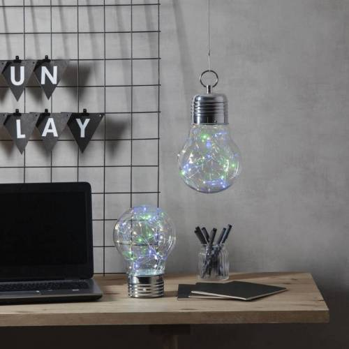 "LED-Dekoleuchte ""Bulby"" - 30 bunte Micro LEDs in Glühbirne - Batterie - Timer - H: 24cm - D: 15cm"